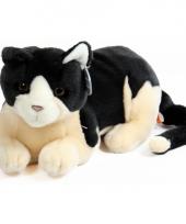 Pluche knuffel kat zwart creme 30 cm trend