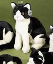 Pluche knuffel katten zwart wit trend
