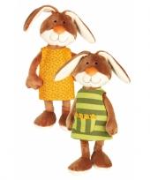 Pluche knuffel konijn met groen jurkje 40 cm trend