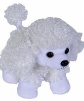 Pluche knuffel poedel hondje wit 18 cm trend
