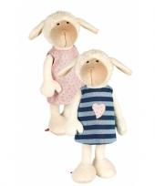 Pluche knuffel schaap met roze jurkje 40 cm trend