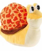 Pluche knuffel slak geel oranje 24 cm trend