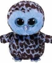 Pluche knuffel uil blauw 15 cm trend