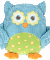 Pluche knuffel uil blauw 28 cm trend
