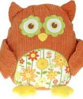 Pluche knuffel uil oranje 28 cm trend