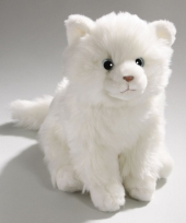 Pluche knuffel witte tabby kat 27 cm trend