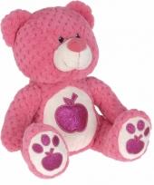 Pluche knuffelbeer roze appel 25 cm trend