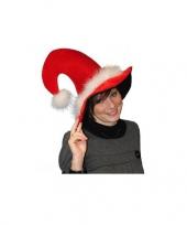 Pluche luxe kerstmuts met veertjes trend