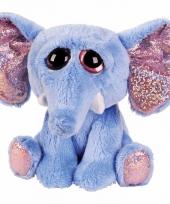 Pluche olifant knuffel blauw 15 cm trend