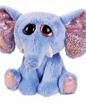 Pluche olifant knuffel blauw 21 cm trend