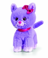 Pluche paarse kitten kat staand 25cm trend