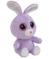 Pluche paarse konijn haas knuffeltje 15 cm trend