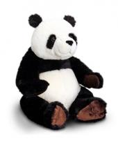 Pluche panda knuffel zwart wit zittend 30cm trend