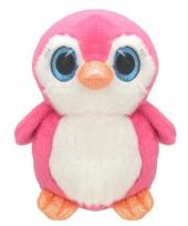 Pluche pinguin knuffel 17 cm roze trend