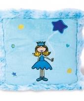 Pluche prinsessen kussen blauw trend