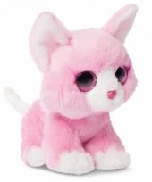 Pluche roze katten knuffel 18 cm trend