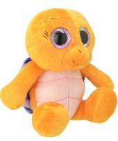 Pluche schildpad knuffel oranje paars 18 cm trend