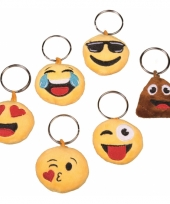 Pluche smiley sleutelhanger cool face trend