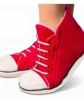 Pluche sneaker slof rood voor dames trend