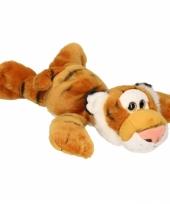 Pluche tijger liggend met kraaloogjes 33 cm trend