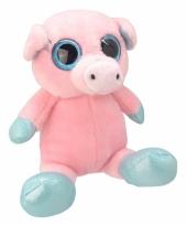 Pluche varken knuffel 18 cm roze trend