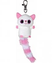 Pluche vossen sleutelhanger wit roze 7 5 cm trend