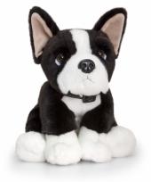 Pluche zittende hond boston terrier 35cm trend