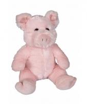 Pluche zittende varken knuffeldier 21cm trend