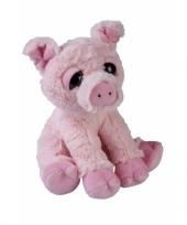 Pluche zittende varken knuffeldier 23cm trend