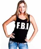Politie fbi tekst singlet-shirt tanktop zwart dames trend