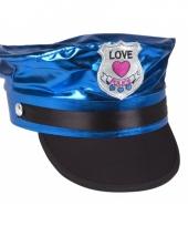 Politie petje in blauwe kleur trend