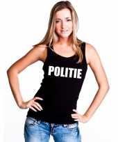 Politie tekst singlet-shirt tanktop zwart dames trend