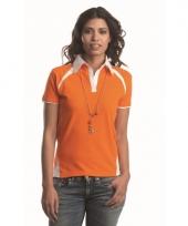 Poloshirt voor dames oranje met wit trend