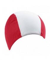 Polyester badmuts rood wit voor volwassenen trend
