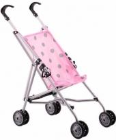Poppen buggy roze 59 cm met stippen trend