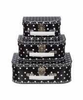 Poppen koffertje zwart met witte stippen 16 cm trend