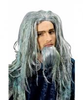 Poseidon verkleedpruik met baard en groene gloed trend