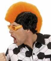 Pruik hanenkam oranje zwart trend