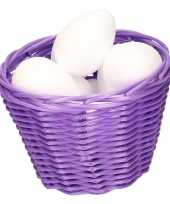 Purple easter basket with styrofoam eggs 14cm trend