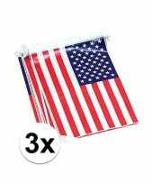 Rechthoekige amerika vlaggenlijnen 3 stuks trend