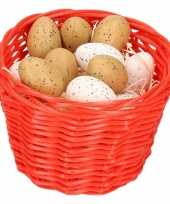 Red easter basket with plastic quail eggs 14cm trend