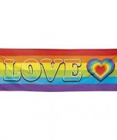 Regenboog met hartje vlag banier 74 x 220 cm trend