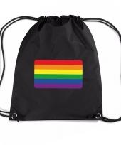 Regenboog nylon rugzak zwart met regenboog vlag trend