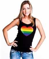 Regenboog vlag in hart singlet-shirt tanktop zwart dames trend