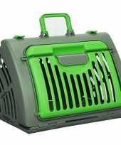 Reismand transport box voor huisdieren grijs groen 46 cm trend