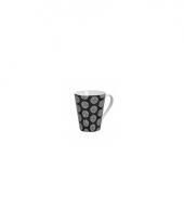 Retro koffie mok rondjes zwart 250 ml trend