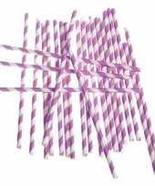 Rietjes lila paars gestreept 24 stuks trend