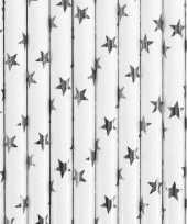 Rietjes met zilveren sterren 10 stuks trend