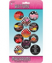 Rock and roll buttons 10 stuks trend