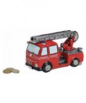 Rode brandweerwagen spaarpot 16 cm trend